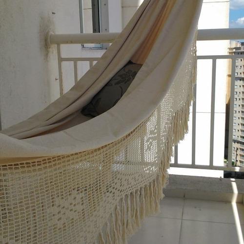 rede de algodão - casal - tear - crú-natural