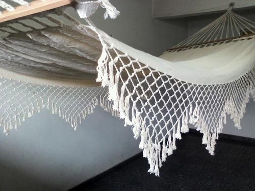 rede de descanso - com madeira - crú-natural - algodão