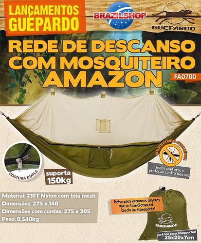 rede de descanso guepardo amazon tela mosquiteiro 150 quilos