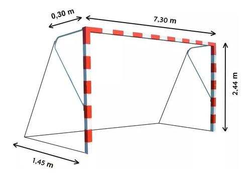 redes de arco de futbol once 7,3 x 2,44 el par futbol 11