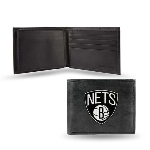 redes de brooklyn bordada cuero bi-fold wallet