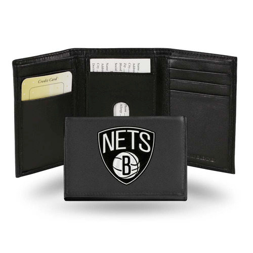 redes de brooklyn tri-fold cartera de cuero bordado