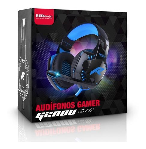 redlemon audífonos gamer g2000 sonido hd 360° micrófono led