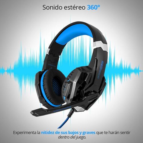 redlemon audífonos gamer g9000 sonido hd 360° micrófono led