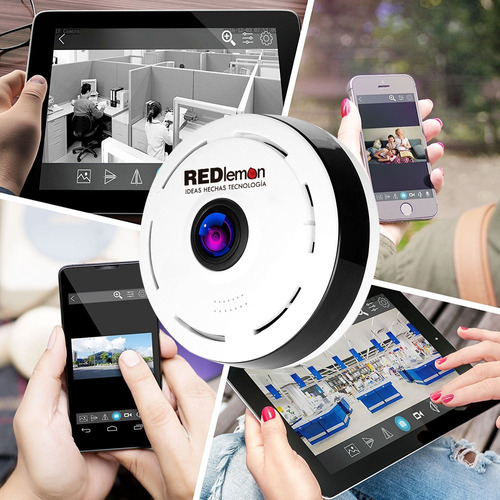 redlemon camara wifi ip 360 grados lente fish eye panoramica