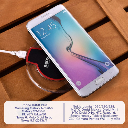 redlemon cargador inalámbrico tecnología qi iphone samsung