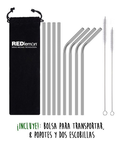 redlemon kit 8 popotes metal inoxidable portátiles ecológico