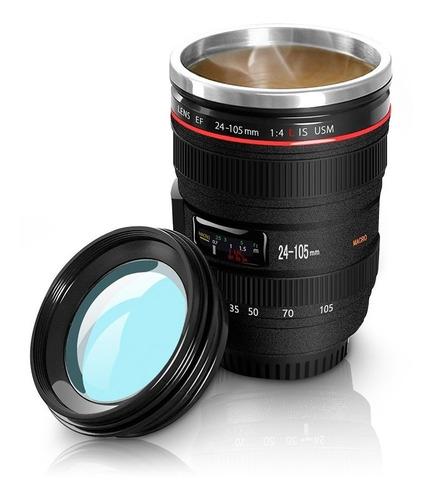 redlemon termo taza portátil lente de cámara 350 ml con tapa