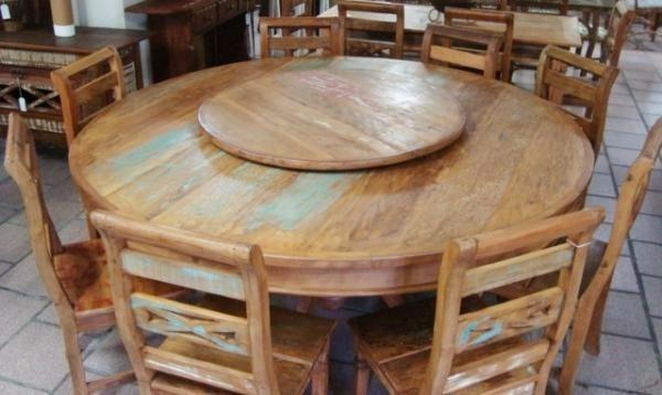 Mesa redonda girat ria madeira r stica maci a 1 40m r 1 for Mesas redondas de madera rusticas