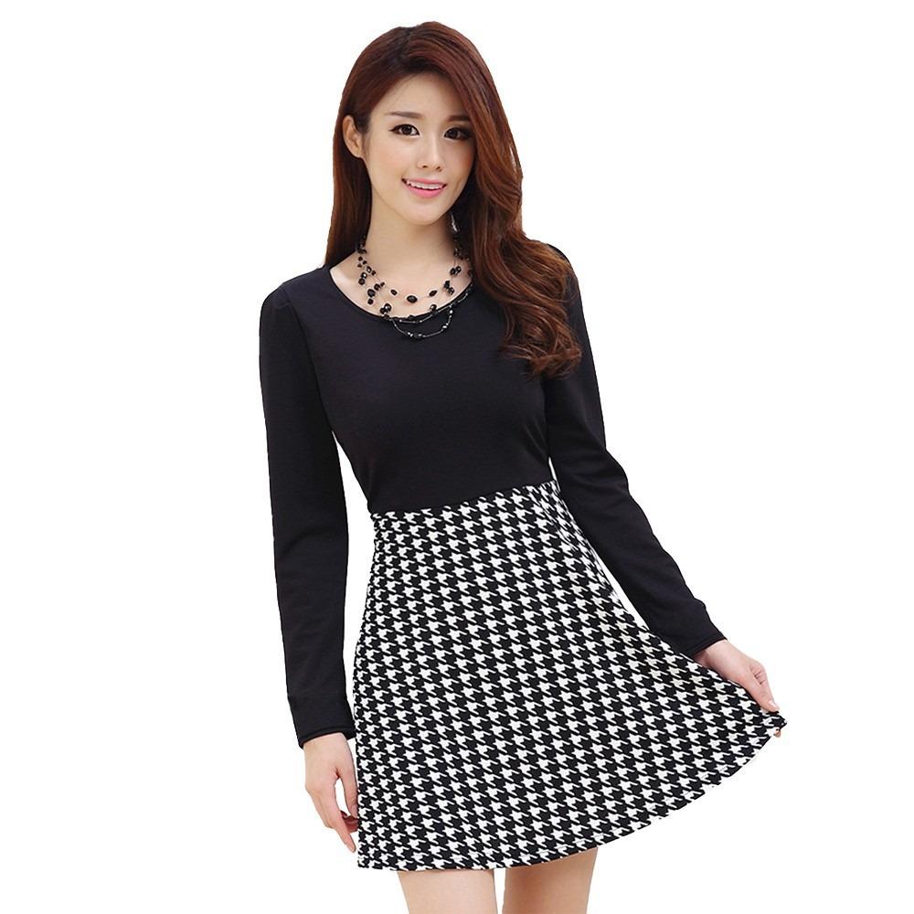 Vestido mini negro manga larga