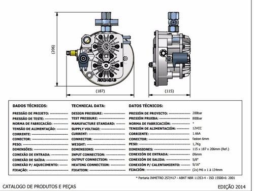 redutor de pressão gnv rodagas gas natural novo garantia