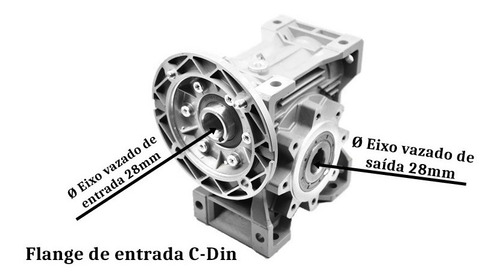 redutor  q75 1/10 100b14 eixo vazado 28mm romak