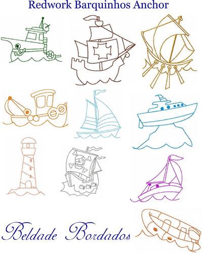 redwork barquinhos anchor - coleção de matriz de bordado