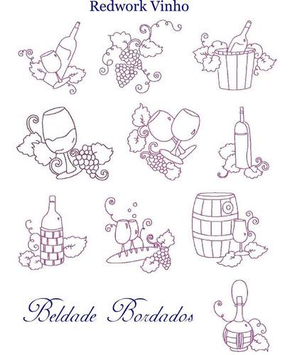 redwork vinho - coleção de matriz de bordado