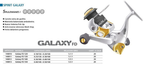 reel frontal spinit - galaxy 550 - 5 rulemanes- tanza 0,50mm