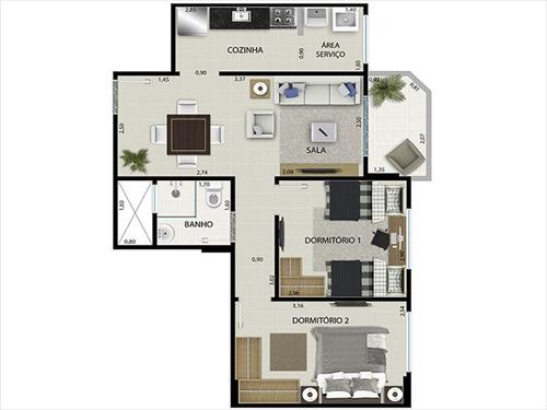 ref.: 1012410500 - apartamento em praia grande, no bairro guilhermina - 2 dormitórios