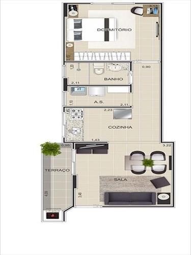 ref.: 101343000 - apartamento em praia grande, no bairro boqueirao - 1 dormitórios