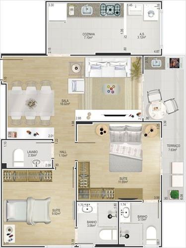 ref.: 10201804 - apartamento em praia grande, no bairro forte - 2 dormitórios