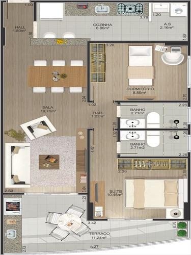 ref.: 10208404 - apartamento em praia grande, no bairro tupi - 2 dormitórios
