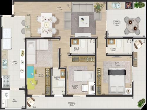 ref.: 1021011304 - apartamento em praia grande, no bairro forte - 3 dormitórios