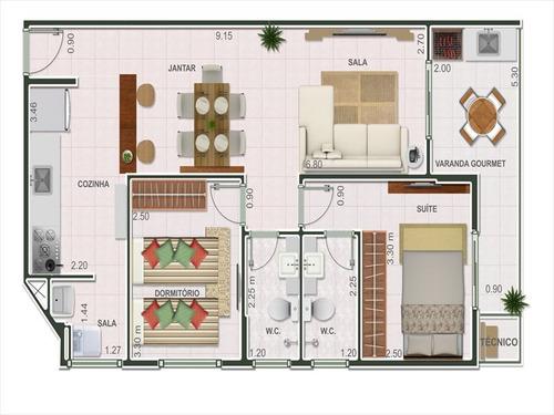 ref.: 102338900 - apartamento em praia grande, no bairro guilhermina - 2 dormitórios