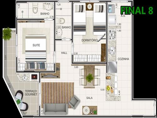 ref.: 102350500 - apartamento em praia grande, no bairro caicara - 2 dormitórios