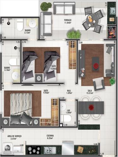 ref.: 102359100 - apartamento em praia grande, no bairro boqueirao - 2 dormitórios