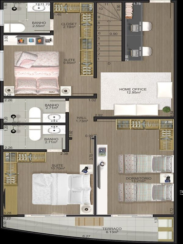 ref.: 11201 - apartamento em praia grande, no bairro vila tupy - 2 dormitórios