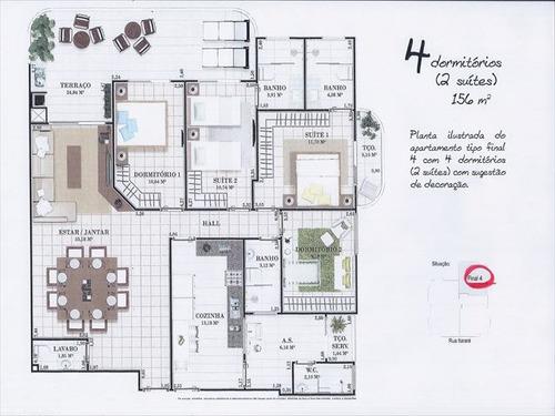 ref.: 1327400 - apartamento em praia grande, no bairro guilhermina - 4 dormitórios