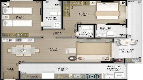 ref.: 1337 - apartamento em praia grande, no bairro vila guilhermina - 2 dormitórios