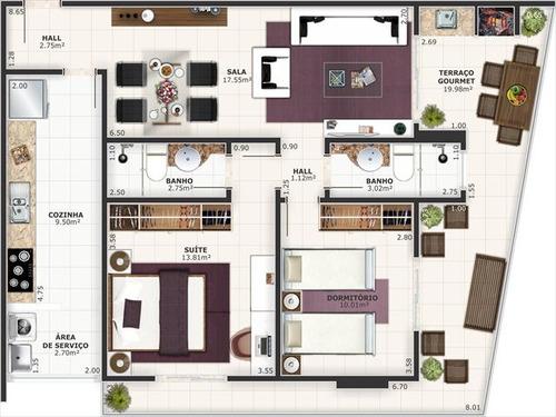 ref.: 151887400 - apartamento em praia grande, no bairro guilhermina - 2 dormitórios