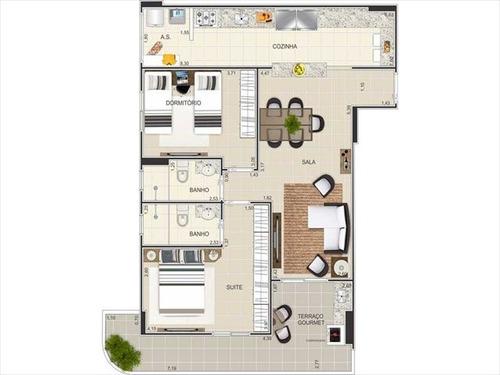 ref.: 1657 - apartamento em praia grande, no bairro ocian - 2 dormitórios