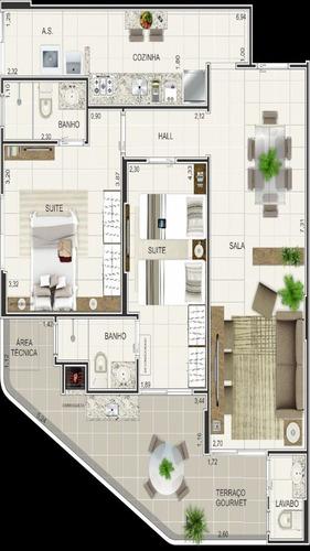 ref.: 1835 - apartamento em praia grande, no bairro vila mirim - 2 dormitórios