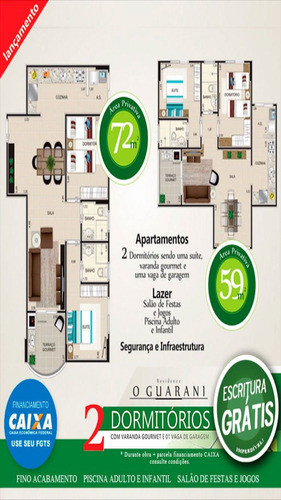 ref.: 1880 - apartamento em praia grande, no bairro cidade ocian - 2 dormitórios