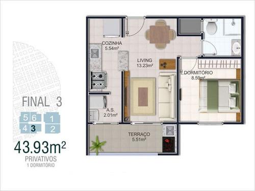 ref.: 1900011101 - apartamento em praia grande, no bairro mirim - 1 dormitórios