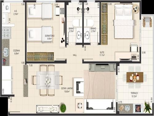 ref.: 1907 - apartamento em praia grande, no bairro canto do forte - 2 dormitórios