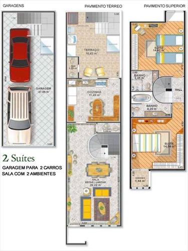 ref.: 1914 - casa condomínio fechado em praia grande, no bairro mirim - 2 dormitórios