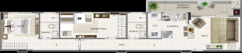 ref.: 2001 - apartamento em praia grande, no bairro caicara - 2 dormitórios