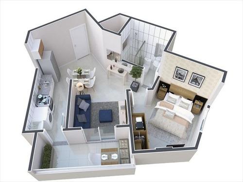 ref.: 2025 - apartamento em praia grande, no bairro tupi - 1 dormitórios