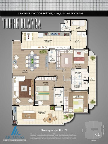 ref.: 2135 - apartamento em praia grande, no bairro canto do forte - 3 dormitórios