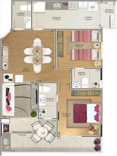 ref.: 2219 - apartamento em praia grande, no bairro canto do forte - 2 dormitórios