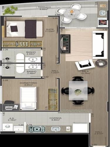 ref.: 2448 - apartamento em praia grande, no bairro tupi - 2 dormitórios
