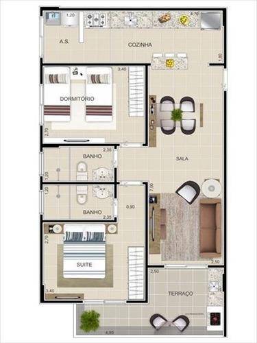 ref.: 2471 - apartamento em praia grande, no bairro tupi - 2 dormitórios