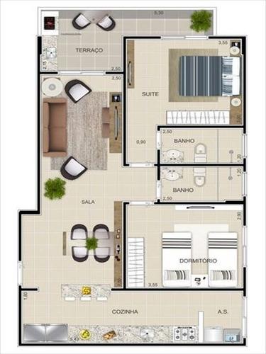 ref.: 2472 - apartamento em praia grande, no bairro tupi - 2 dormitórios