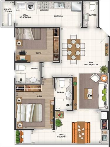 ref.: 2746 - apartamento em praia grande, no bairro canto do
