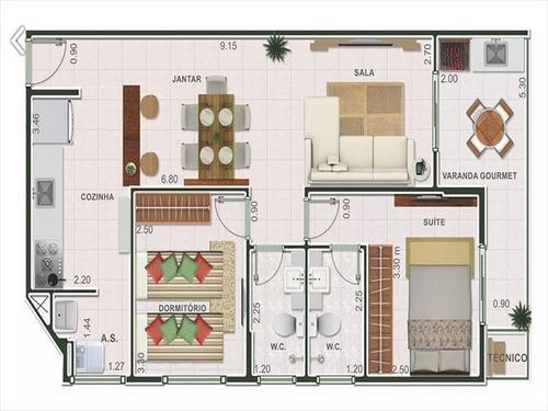 ref.: 2831 - apartamento em praia grande, no bairro guilhermina - 2 dormitórios