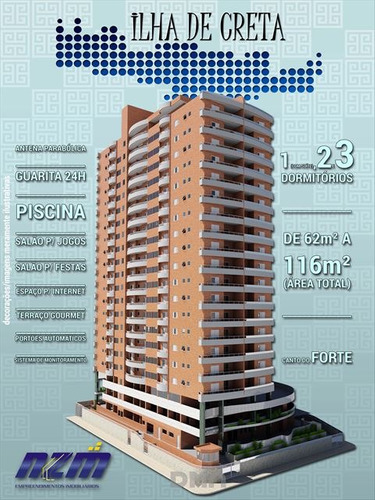 ref.: 2844 - apartamento em praia grande, no bairro canto do forte - 1 dormitórios