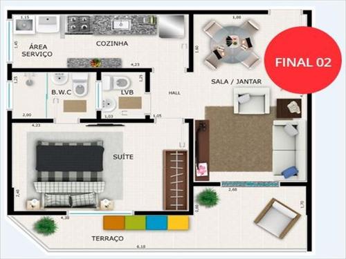 ref.: 2854 - apartamento em praia grande, no bairro guilhermina - 1 dormitórios