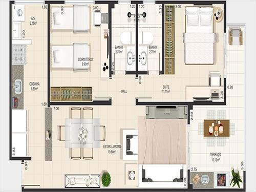 ref.: 3087 - apartamento em praia grande, no bairro canto do forte - 2 dormitórios