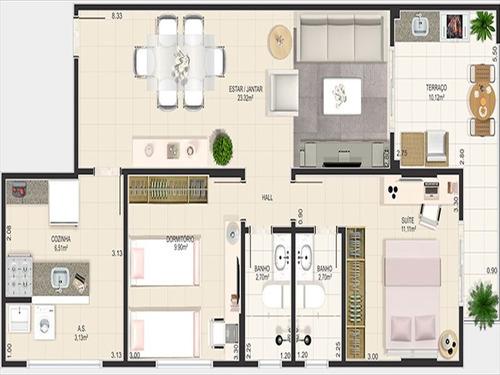 ref.: 3089 - apartamento em praia grande, no bairro canto do forte - 2 dormitórios